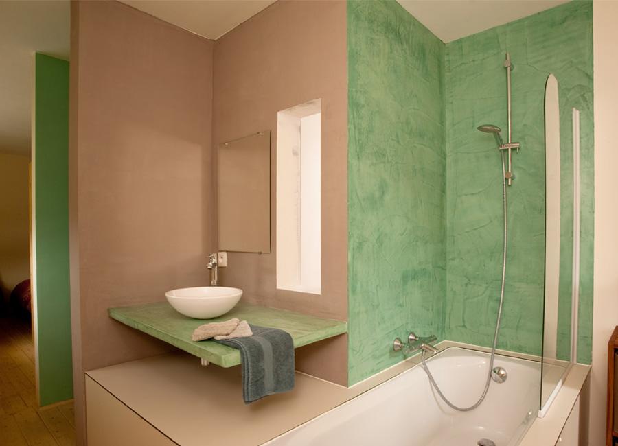 R alisations mortex salles de bains rapha l lejoly for Enduit decoratif salle de bain